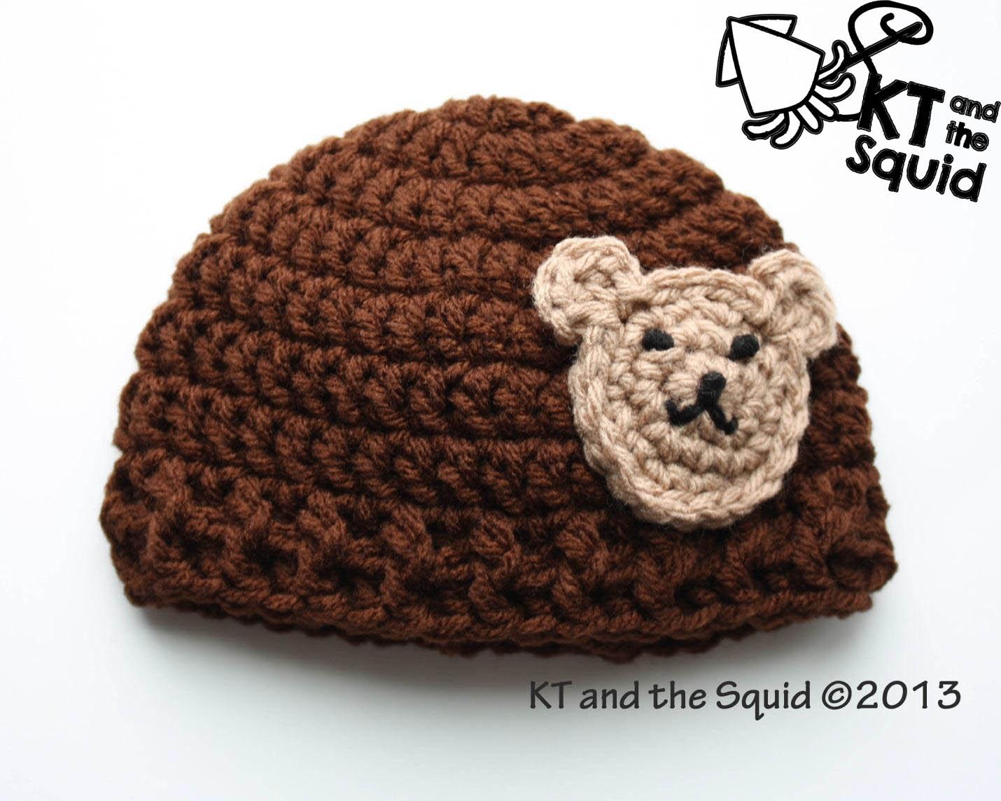 Crochet Bear Hat Free Pattern : Free Bear applique hat crochet pattern